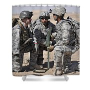 Soldiers Discuss A Strategic Plane Shower Curtain by Stocktrek Images
