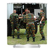 Soldiers Of A Belgian Infantry Unit Shower Curtain by Luc De Jaeger