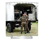 Soldiers Of An Infantry Section Shower Curtain by Luc De Jaeger