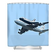 Space Shuttle Enterprise Arrives In New York City Shower Curtain by Clarence Holmes