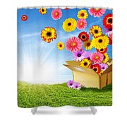 Spring Delivery Shower Curtain by Carlos Caetano