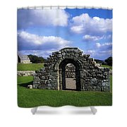 St Brigids Church, Inis Cealtra Holy Shower Curtain by The Irish Image Collection