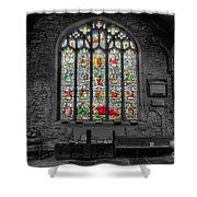 St Dyfnog Window Shower Curtain by Adrian Evans