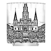 St Louis Cathedral On Jackson Square In The French Quarter New Orleans Photocopy Digital Art Shower Curtain by Shawn O'Brien