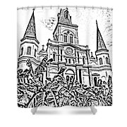 St Louis Cathedral Rising Above Palms Jackson Square New Orleans Photocopy Digital Art Shower Curtain by Shawn O'Brien