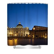 St. Peter's Basilica at Night Shower Curtain by David Smith
