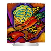 Staff For Yummy Salad Shower Curtain by Leon Zernitsky