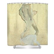 Standing Female Nude Shower Curtain by Egon Schiele