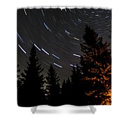 Star Trails Above Spruce Tree Line Shower Curtain by Darcy Michaelchuk