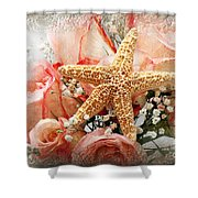 Starfish And Pink Roses Shower Curtain by Andee Design