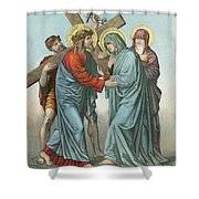 Station Iv Jesus Carrying The Cross Meets His Most Afflicted Mother Shower Curtain by English School