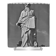 Statue 01 Black And White Shower Curtain by Thomas Woolworth