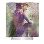 Statue In The Garden Shower Curtain by Judi Bagwell