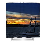 Statue Of Liberty At Sunset Shower Curtain by Nishanth Gopinathan