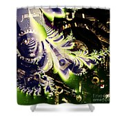 Steampunk Abstract Fractal . Square . S2 Shower Curtain by Wingsdomain Art and Photography