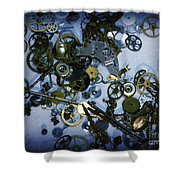 Steampunk Gears - Time Destroyed Shower Curtain by Paul Ward