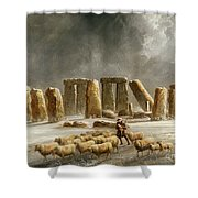 Stonehenge In Winter Shower Curtain by Walter Williams