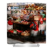 Store - Ny - Chelsea - Fresh Fruit Stand Shower Curtain by Mike Savad