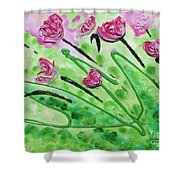 Stringy Tulips Shower Curtain by Ruth Collis