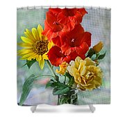 Summer Floral Shower Curtain by Debbie Portwood