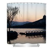 Summer Palace Evening Shower Curtain by Mike Reid