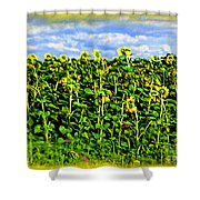 Sunflowers In France Shower Curtain by Joan  Minchak
