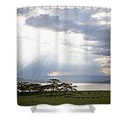 Sunlight Shines Down Through The Clouds Shower Curtain by David DuChemin