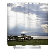 Sunlight Shines Down Through The Clouds Shower Curtain by David DuChemin