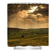 Sunrays Through Clouds, North Shower Curtain by John Short