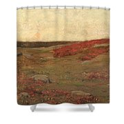 Sunrise In Autumn Shower Curtain by Childe Hassam