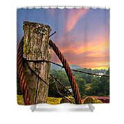 Sunrise Lasso Shower Curtain by Debra and Dave Vanderlaan