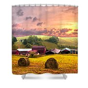Sunrise Pastures Shower Curtain by Debra and Dave Vanderlaan
