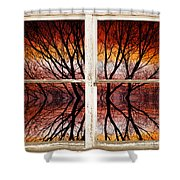 Sunset Abstract Rustic Picture Window View Shower Curtain by James BO  Insogna