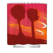 Sunset Abstract Trees Shower Curtain by Pixel Chimp