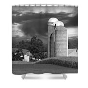 Sunset On The Farm BW Shower Curtain by David Dehner