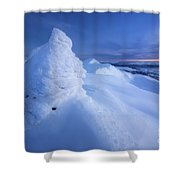 Sunset On The Summit Toviktinden Shower Curtain by Arild Heitmann