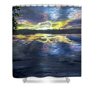 Sunset Over Mystic Lakes Shower Curtain by Jack Skinner