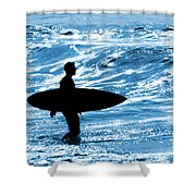 Surfer Silhouette Shower Curtain by Carlos Caetano