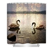 swans on Lake Varese in Italy Shower Curtain by Joana Kruse