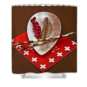 Swiss Chocolate Praline Shower Curtain by Joana Kruse