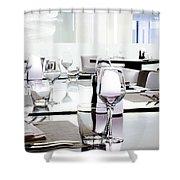 table setting Shower Curtain by Setsiri Silapasuwanchai