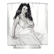 Take On Me Shower Curtain by Pete Tapang