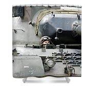 Tank Driver Of A Belgian Leopard 1a5 Shower Curtain by Luc De Jaeger