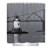 Tarrytown Lighthouse And Tappan Zee Bridge Viii Shower Curtain by Clarence Holmes