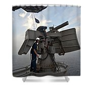 Technicians Performs Maintenance Shower Curtain by Stocktrek Images