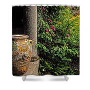 Temple And Garden Urn, The Wild Garden Shower Curtain by The Irish Image Collection