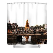 temple and the river in India Shower Curtain by Sumit Mehndiratta