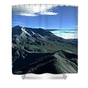 Terragen Render Of Mt. St. Helens Shower Curtain by Rhys Taylor