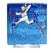 The Aerial Skier 16 Shower Curtain by Hanne Lore Koehler
