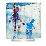 The Aerial Skier - 2 Shower Curtain by Hanne Lore Koehler